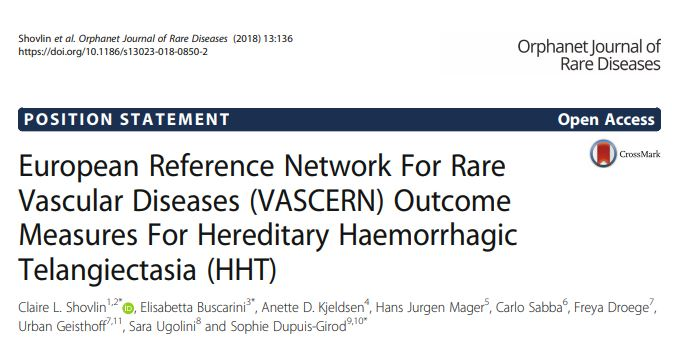 HHT-WG's Outcome Measures Published in the OJRD!