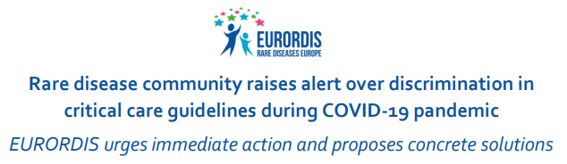 Eurordis reports alert over discrimination in critical care guidelines during COVID-19 pandemic and proposes concrete solutions