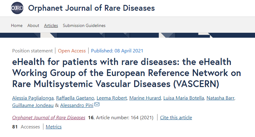 New OJRD publication highlights VASCERN's eHealth services and main actions